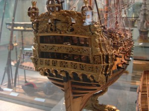 The stern of the model of the Hope