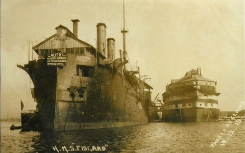 The hulks forming the training establishment HMS Fisgard at Portsmouth, c.1890s/1900s