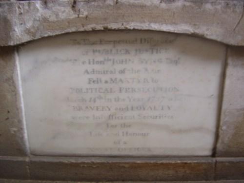 Admiral John Byng's niche tomb