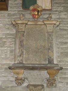 St Elli's church, Llanelli: the memorial to Justina's son, Sir Thomas Stepney (which claims, wrongly, that he was descended from King Henry VII)