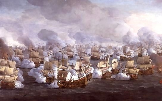 The Battle of Kijkduin / the Texel, 1673, by Willem Van de Velde the elder. Union flags as jacks, ensigns at the stern, as they should be...