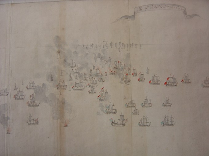 One of a series of watercolour drawings of the battle held at the National Maritime Museum. This shows 'the 7th part', at about 5-6 PM, with the British and Dutch heavily engaged in the foreground, but the French far off in the background