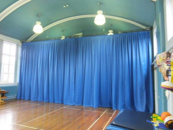School hall seperated with accolade curtain