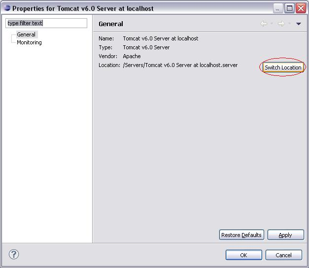 Eclipse WTP - Server Properties - Switch Location