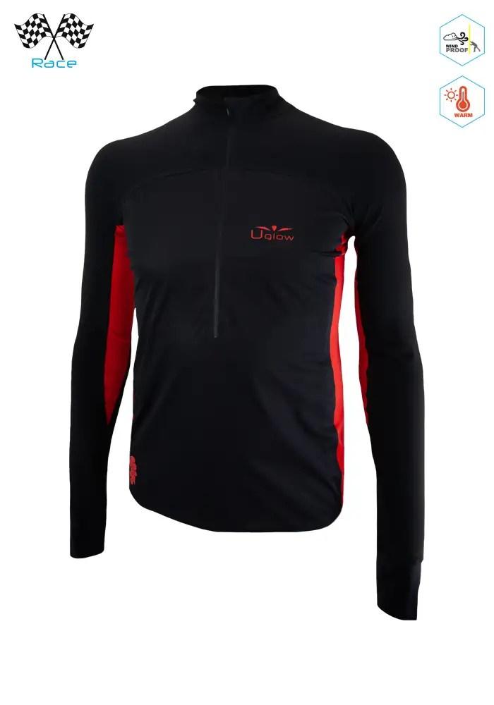 Camiseta Térmica de Hombre con Membrana Uglow Con cremallera 34ZIP4 Negra/Rojo