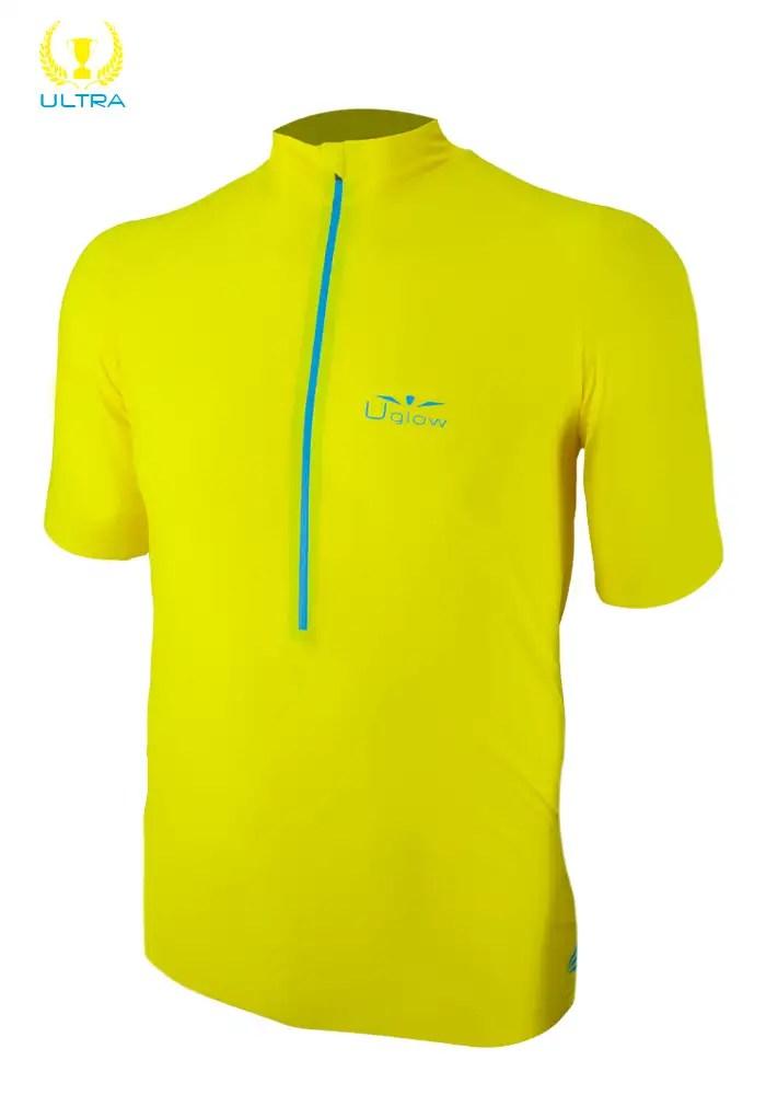 Camiseta con cremallera trail running para hombre manga corta Uglow Race Amarilla, zip3