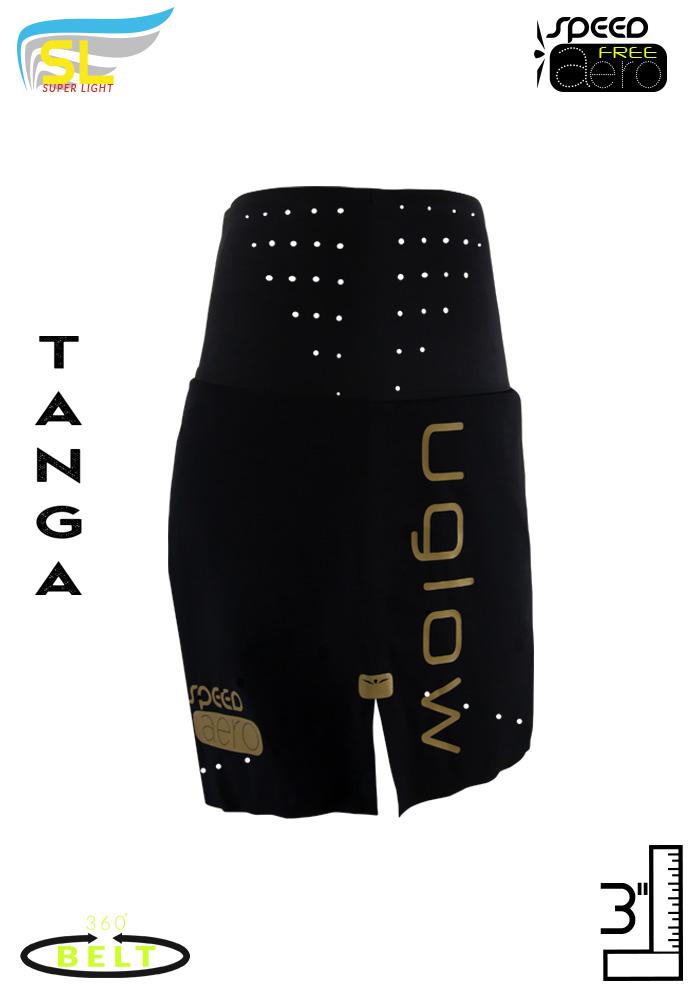 Short running con cinturón incorporado para mujer Uglow SL Speed Aero Tanga 3, Negro/oro