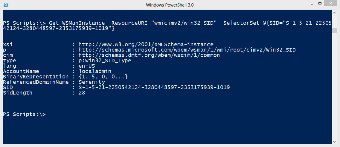 Resolving SIDs with WMI. WSMAN and PowerShell • The Lonely Administrator