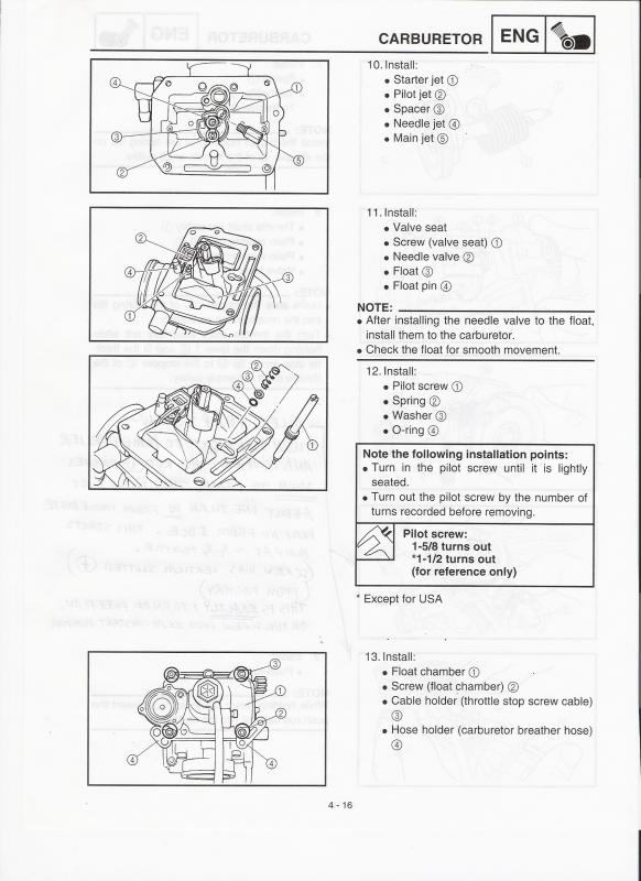 Carburetor Bottom with Pilot Screw, Spring, Washer, and O