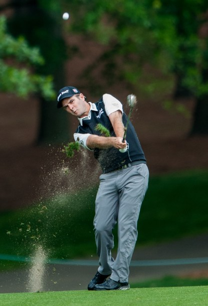 Kevin Streelman chips a shot down the greenway during the first round at the Wells Fargo Championship at the Quail Hollow Club in Charlotte, NC on Wednesday May 13, 2015.