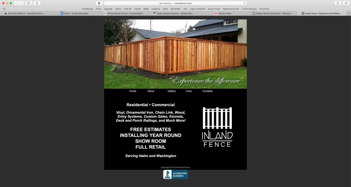 Website created for Inland Fence