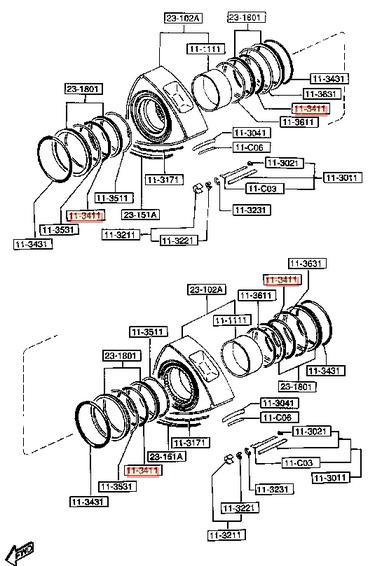 GENUINE MAZDA 13B 13-B RX7 RX8 INNER OIL CONTROL O RINGS