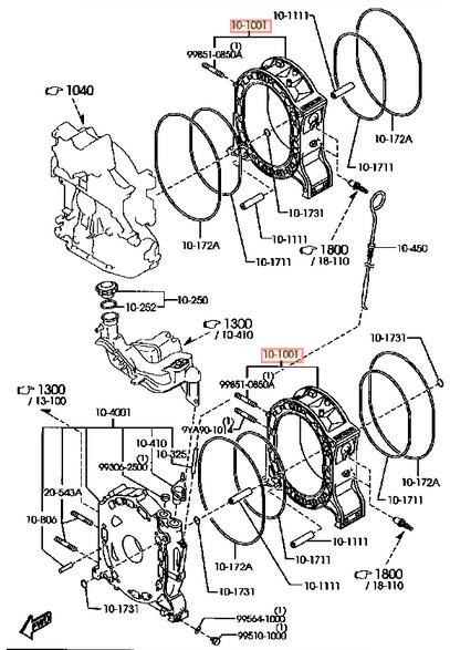genuine mazda 13b turbo rotary engine rear rotor housing
