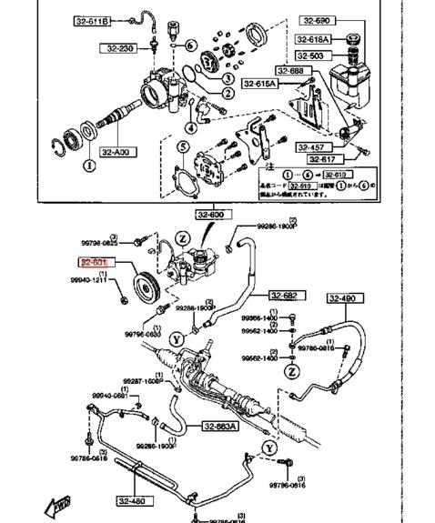 GENUINE MAZDA RX7 RX-7 FD3S 13B TURBO POWER STEERING PUMP