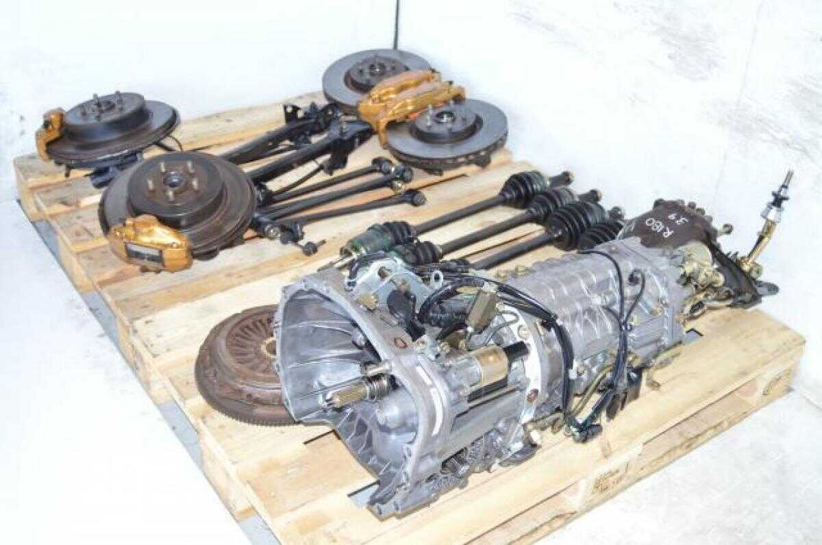 hight resolution of used jdm subaru sti ty856wb3ka 6 speed dccd transmission package with 4 corner axles brembo