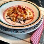 Risoto de abóbora, carne seca e queijo coalho