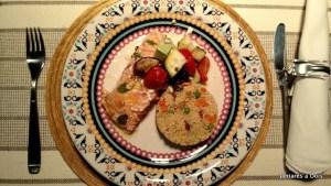 Salmão com couscous marroquino
