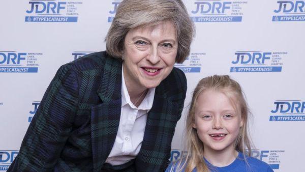 JDRF Westminster Palace reception.  Theresa May and Elouisa Baker.  Copyright John Nguyen/JNVisuals 25/04//2016
