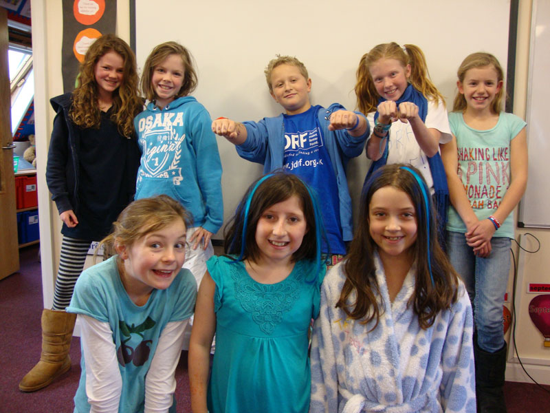 School children dressed in blue for the #GoBlue event