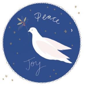 Peace and joy Christmas card dove