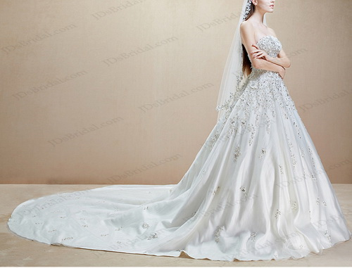 IS018 Luxury Beaded Lace Appliqued Cathedral Train Florals