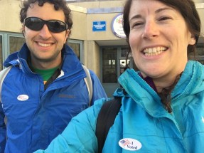 We stopped at the polls on our walk home to vote