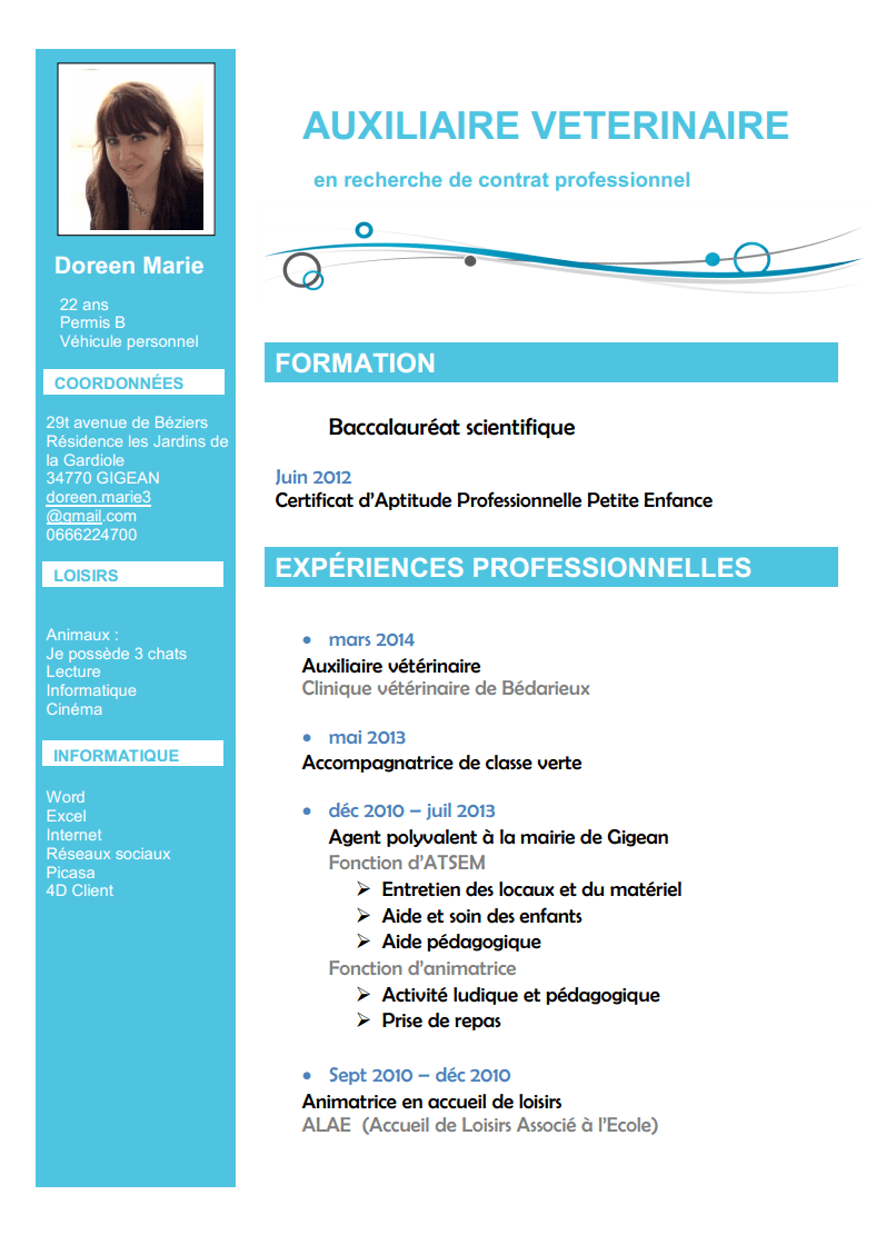 exemple cv assistant veterinaire