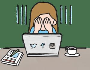 Loi de Murphy : comment survivre à la Loi de l'Emmerdement Maximal : fille à son bureau devant son ordinateur se cachant les yeux