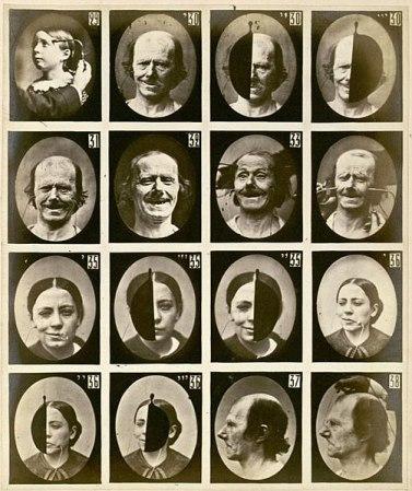 Sourire authentique : photos issues du livre Mécanisme de la Physionomie Humaine de Duchenne de Boulogne, publié en 1862.