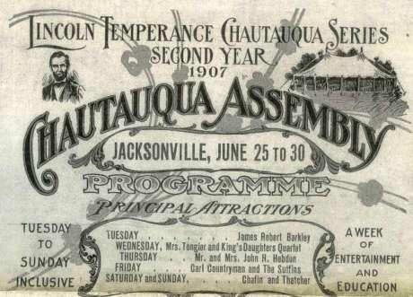Dale Carnegie inspiré dans sa jeunesse par les orateurs des assemblées Chautauqua - Programme de l'une d'elles à Jacksonville
