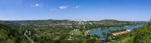 Vue d'avion du lac Kir et du canal de Bourgogne