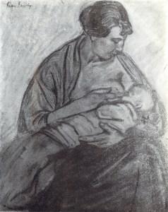 Fusain femme allaitant Jean Jacoby, livre de Adolphe Deville, page 33, 1967.