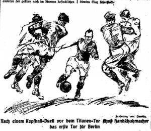 Nach ein Kopfball-Duel vor dem Titanen-Tor schoß Sjandschumacher das erste Tor für Berlin