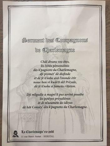Serment Compagnon de Charlemagne