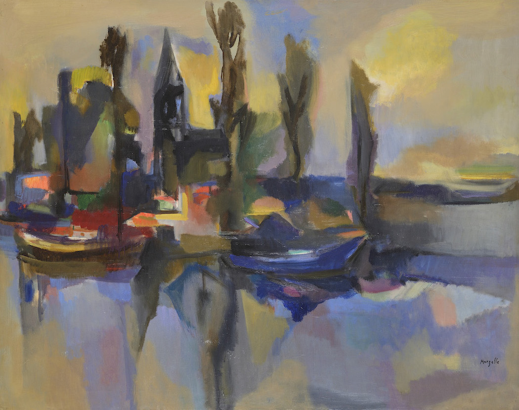 Jean Marzelle, Hollande, le long du canal, 1985, Oil on canvas, 73 x 92 cm