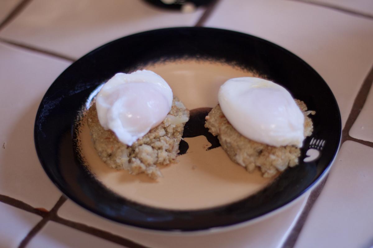 Poached Eggs Over Cauliflower & Quinoa