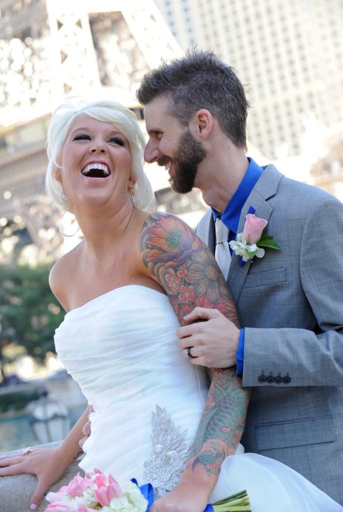 Jeana & Austin wedding day at Bellagio- laughing.