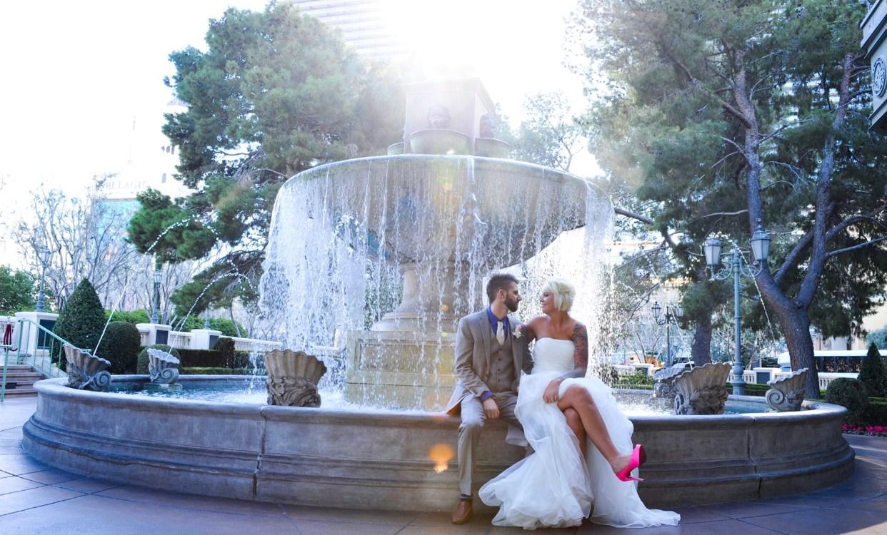 Jeana & Austin wedding day at Bellagio fountain.
