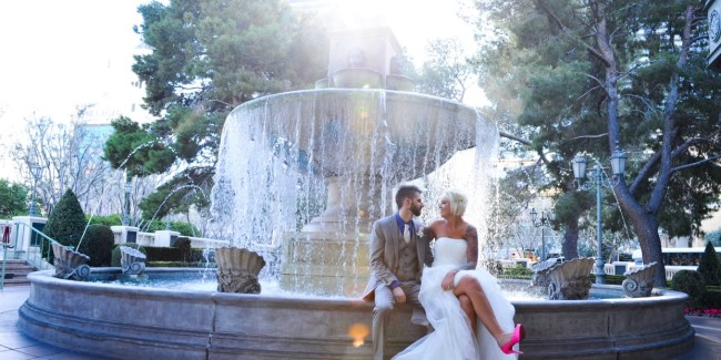 Jeana & Austin wedding day at Bellagio fountain.