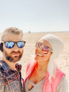 Jeana and Austin at the beach on an LA winter day.