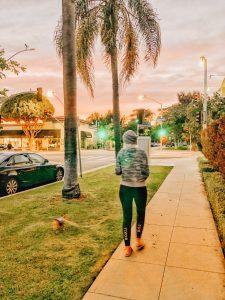 Jeana & Anela walking at sunset.