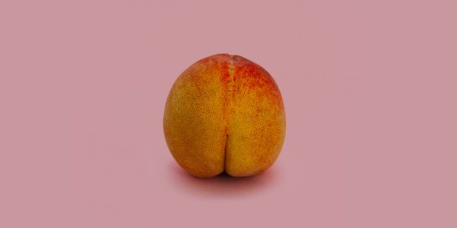 Peach with pink background.