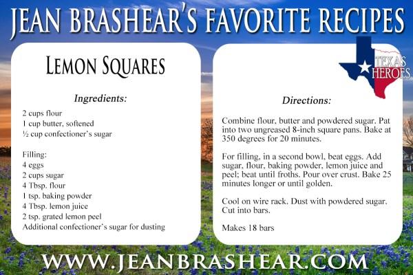 Lemon Squares Recipe by Jean Brashear