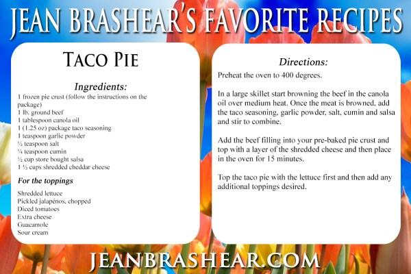 Taco Pie Recipe by Jean Brashear
