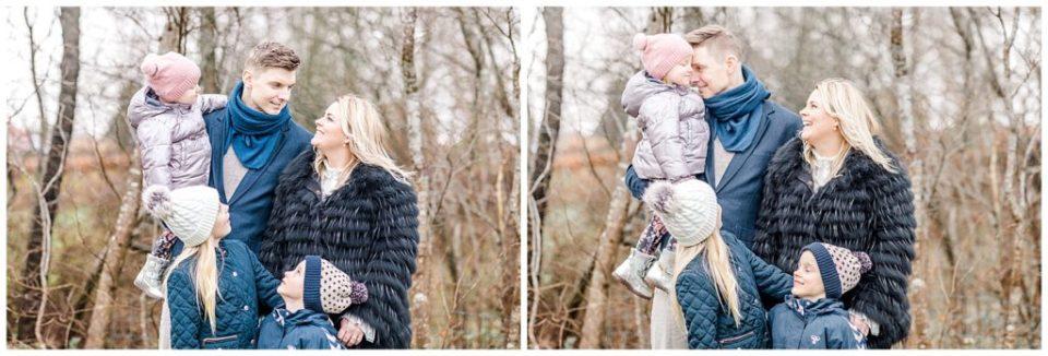 familiebilleder i skoven med små børn