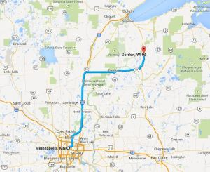 Minneapolis to Gordon, Wascott, Solon Springs, Barnes