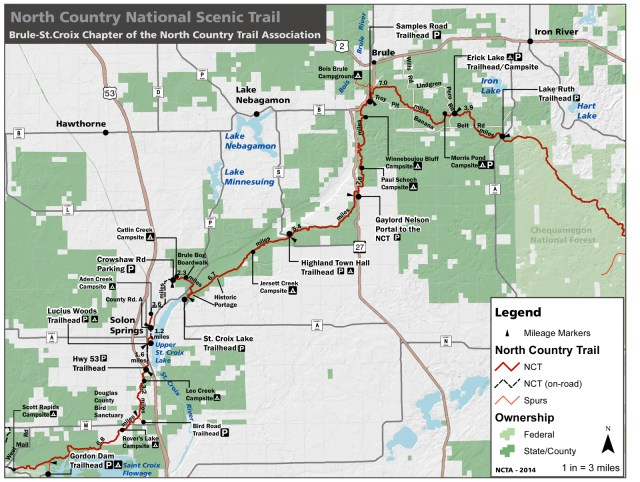 North Country trail map - Douglas County WI