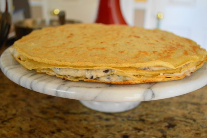 Four layers in and I was starting to get very excited about this cannoli crepe cake.