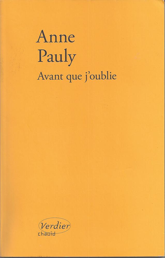 Anne Pauly Avant Que J'oublie : pauly, avant, j'oublie, Avant, J'oublie, Jean-Louis, Breton