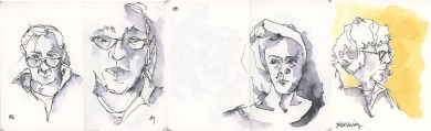 For my remaining sketches, I wanted to achieve a more accurate likeness of my subjects (which I did not achieve on 86-88, but did better on 89). These four were done with an inexpensive Pilot Varsity fountain pen with water soluble ink that bleeds beautifully for dramatic effects. I loved this pen for quick sketches with the simplest of washes.